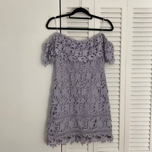 ASTR lace off the shoulder mini dress